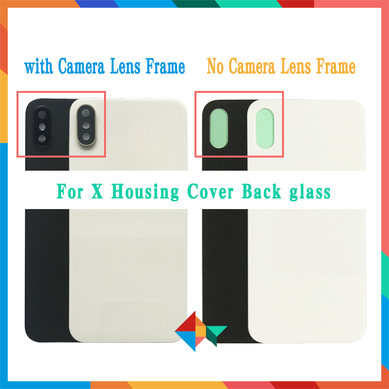 10Pcs/lot Back Glass For Iphone X / XS / XS MAX Battery Cover Rear Door Chassis Frame Back Housing Cover Glass