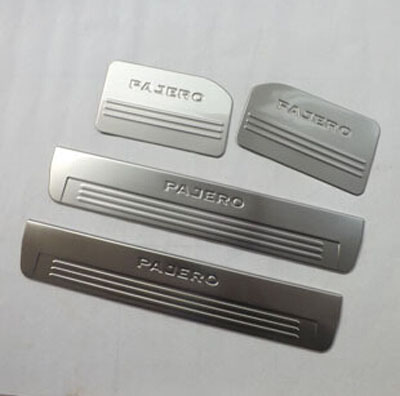 For Mitsubishi Pajero 2013 Car Styling Internal Stainless Steel Door Sill Scuff Plates Strip Welcome Pedal Auto Accessories for mitsubishi pajero 2013 stainless steel internal door sill strip welcome pedal auto car styling stickers accessories 4 pcs