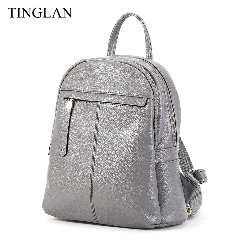 TINGLAN Brand Fashion Genuine Leather Backpacks for Women Famous Designer Backpack for Teenage Girls School Bags High Quality women genuine leather backpack school bags for girls high quality fashion korean backpacks student bookbag free shipping