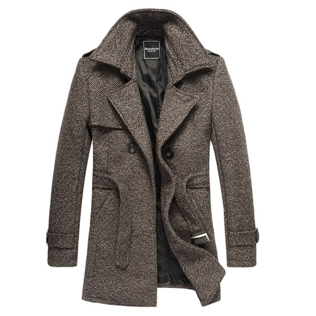 Men Autumn and Winter Big Size Coat Jacket Belt Fashion Large Lapel Coat Long Section Woolen Coat Double-breasted Coat Men 138wy