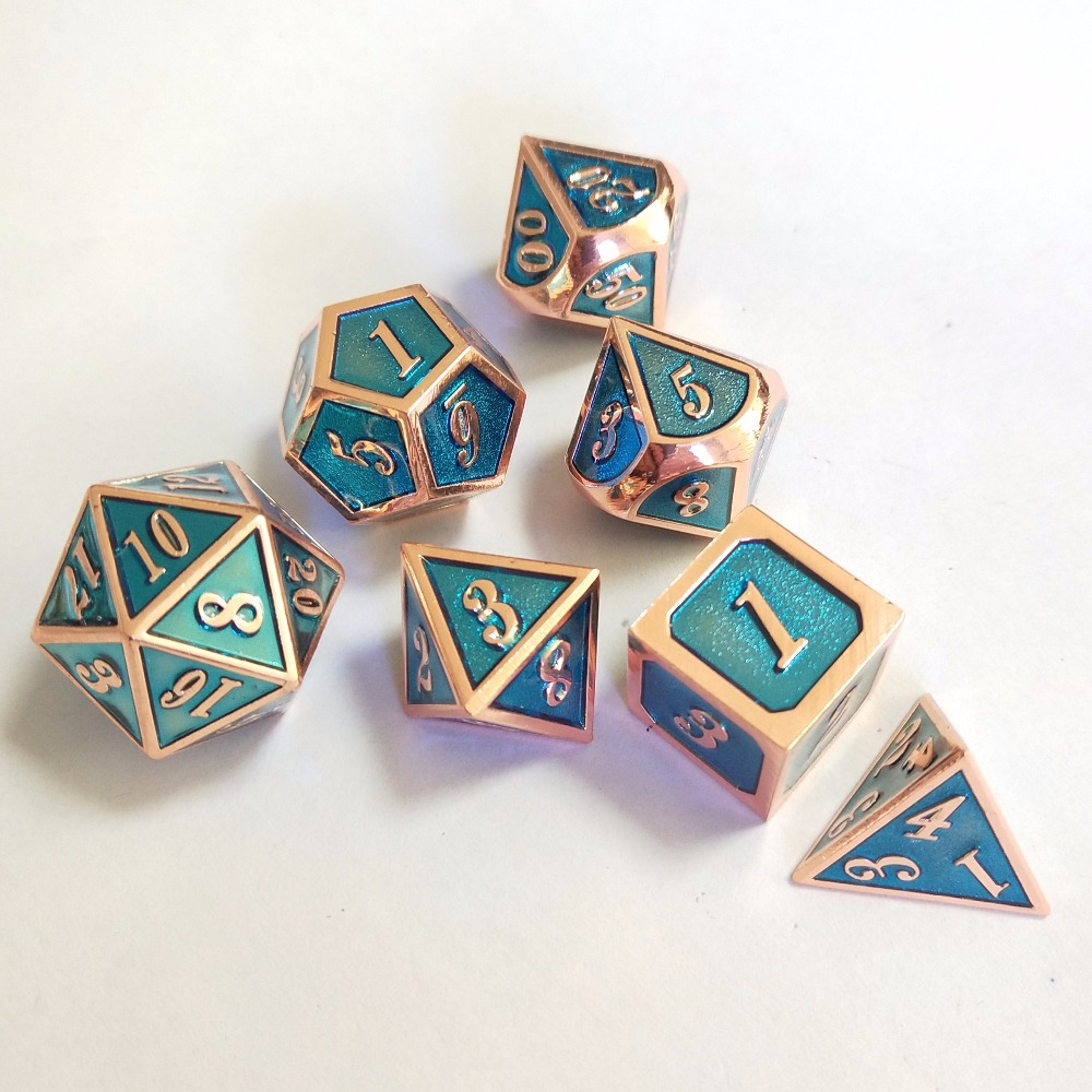 factory Outlet New font Dungeons & Dragons 7pcs/set Creative RPG Dice D&D Metal Dice transparent blue