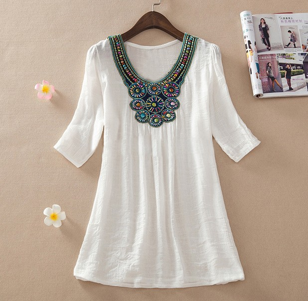 2015 Summer New Women Floral Embroidery Plus Size XXXL Loose Blouse Shirts 7 Candy Colors Chiffon Casual Shirt Tops
