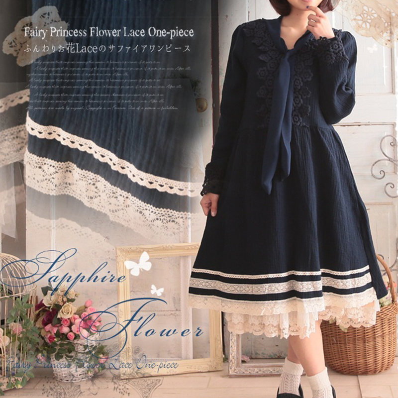 Autumn Winter Mori Girl Dress Women Vintage Flower Appliques Dress Bow Tie Solid Long Sleeve Fairy Princess Lace Dress V200 Платье