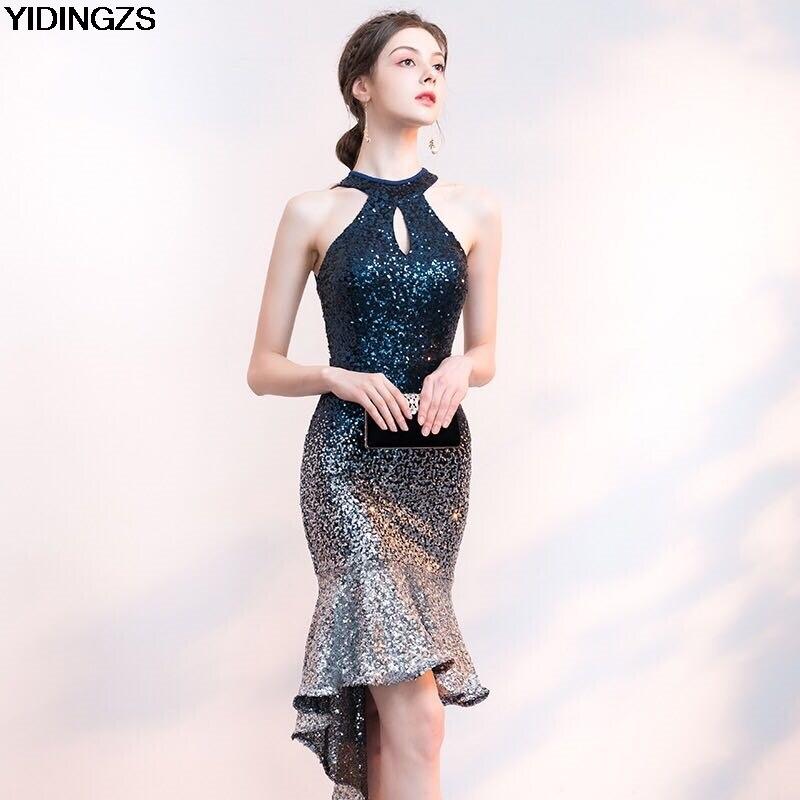 YIDINGZS קצר קדמי ארוך בחזרה Sparkle נצנצים שמלת קוקטייל הלטר אלגנטי מפלגה שמלה