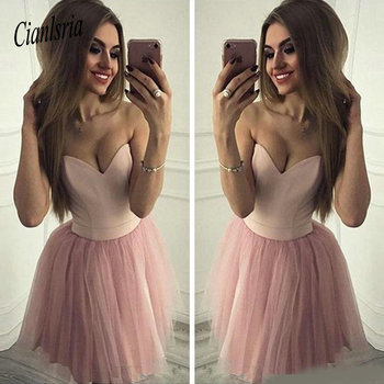 2020 Sweetheart Pink Homecoming Dresses Sleeveless A-Line Tulle Elegant Design Party Dresses Custom Made Simple Cocktail Dress фото