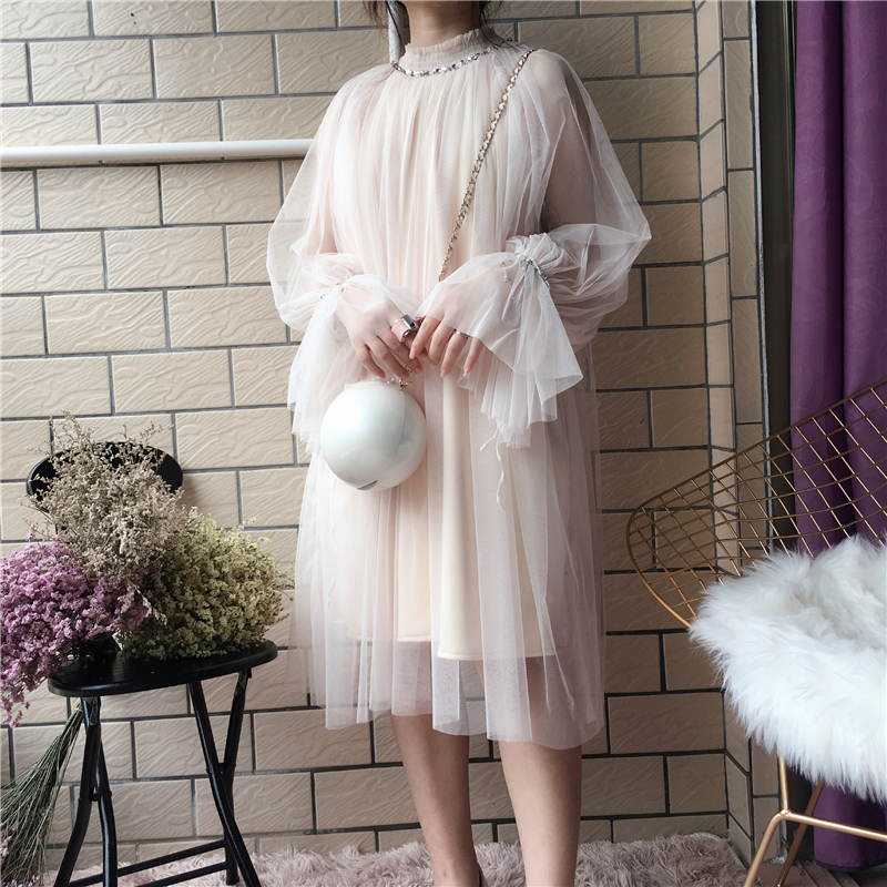 2018 spring new female gauze dress half female high collar trumpet sleeve long sleeve loose dress women's dresses chrismas 1
