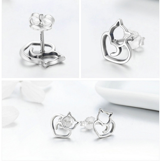 925 Sterling Silver Cat and Heart Shaped Stud Earrings