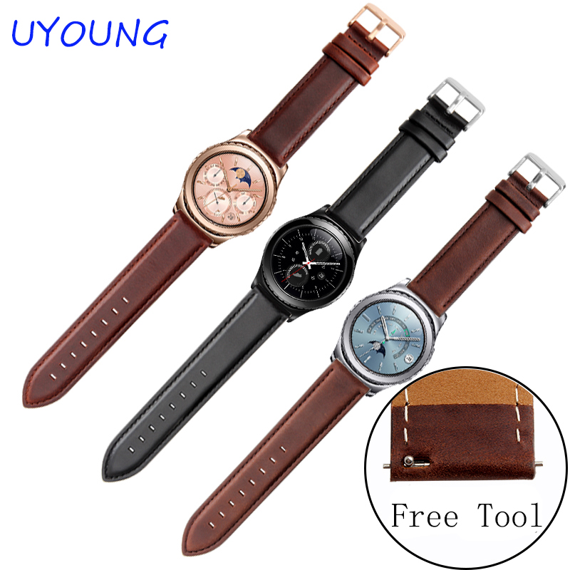 For Samsung Gear S2 S3 Classic/Forntier Smart Watch bands 20mm 22mm Quality Genuine Leather Watch bands