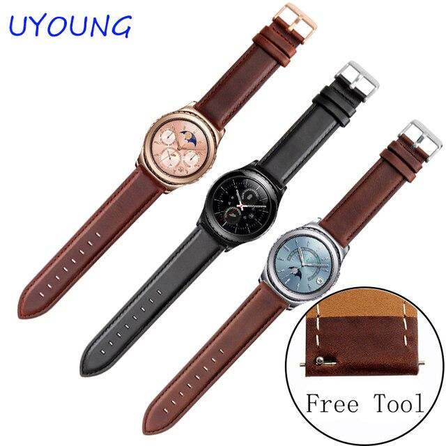 Para samsung gear s2 s3 classic/forntier smart watch bandas 20mm 22mm calidad del cuero genuino de correas de reloj
