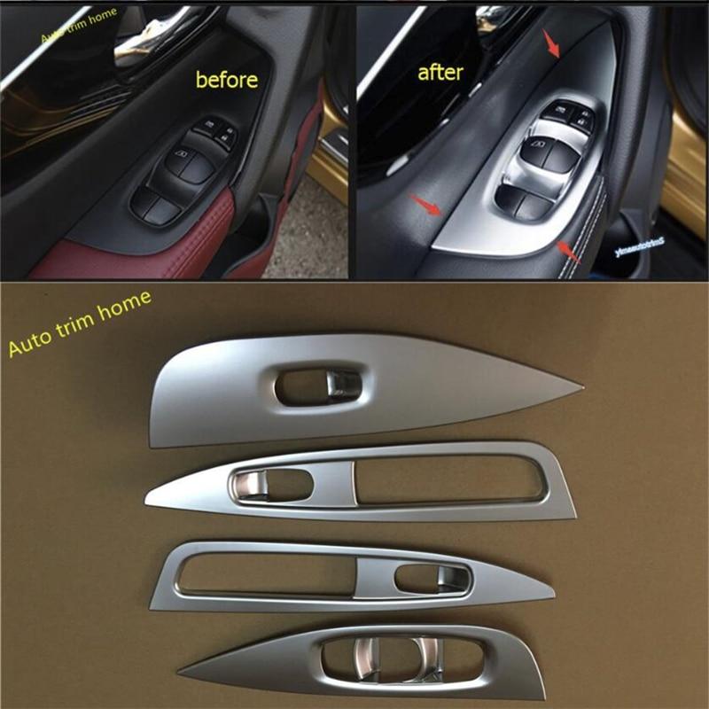 4PCS Chrome Inner Door handle Armrest Cover Trim For Cadillac XT5 2016 2017 2018