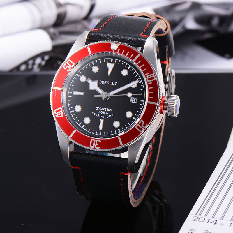 лучшая цена 41mm Corgeut Black dial blue/black/red bezel Sapphire Glass Miyota movement mechanical Automatic Men Watch