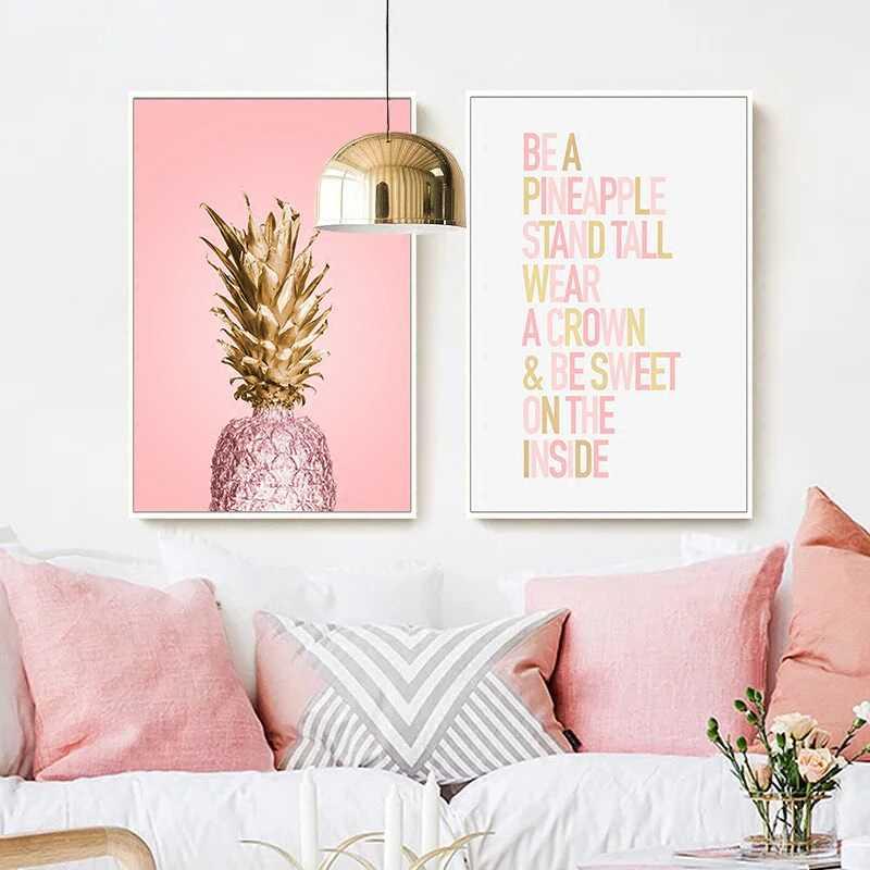 Розовый ананас плакаты растения ананас стены искусства картины скандинавские рисунок на холсте, Пейзаж Современная Гостиная печать украшения дома