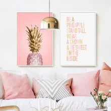 Pink Ananas Posters Plants Pineapple Wall Art Pictures Nordic Canvas Landscape Painting Modern Living Room Print Home Decoration(China)