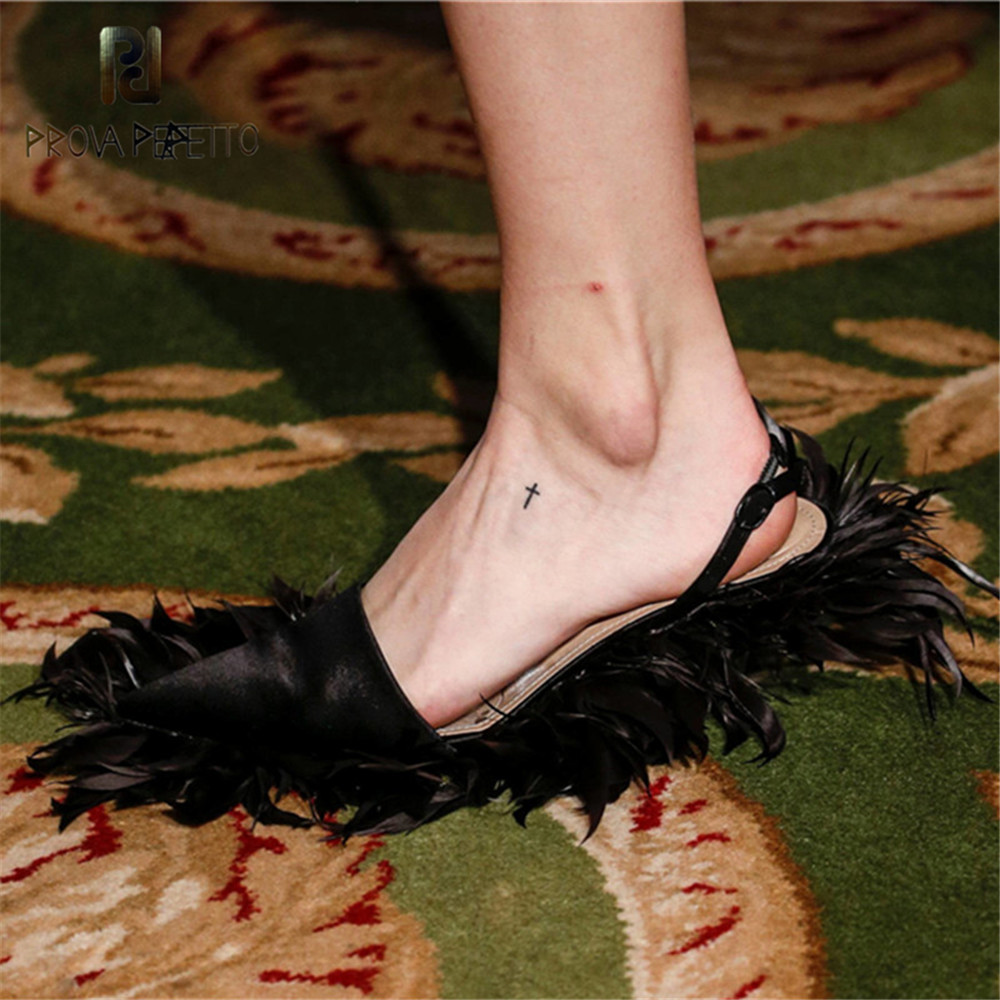 Prova Perfetto Brand Design Pointed Feather Slippers Low Heel Shoes Woman Fashion Large Size High Heels