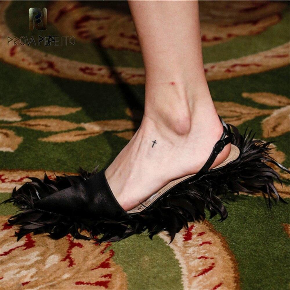Prova Perfetto ブランドデザイン指摘羽スリッパ低靴の女性のファッション大サイズハイヒールグラディエーターサンダルファム  グループ上の 靴 からの ハイヒール の中 1