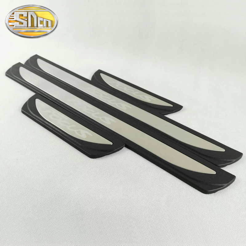 4PCS High-quality Stainless Steel Welcome Pedal Car Scuff Plate Pedal Trim Threshold Door Sill For Ford Focus 2 3 4 2009 - 2018