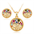 Elegant Colorful Crystal Round Rose Flower Gold Plated Chain Necklace Fashion White Rhinestone Stud Earrings Jewelry Ssts Gift