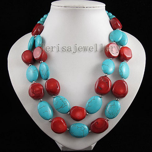 2rows Red coral & blue turquoises necklace earring size:13-20mm & 10-11mm fashion womans jewelry Hot sale free shipping2rows Red coral & blue turquoises necklace earring size:13-20mm & 10-11mm fashion womans jewelry Hot sale free shipping