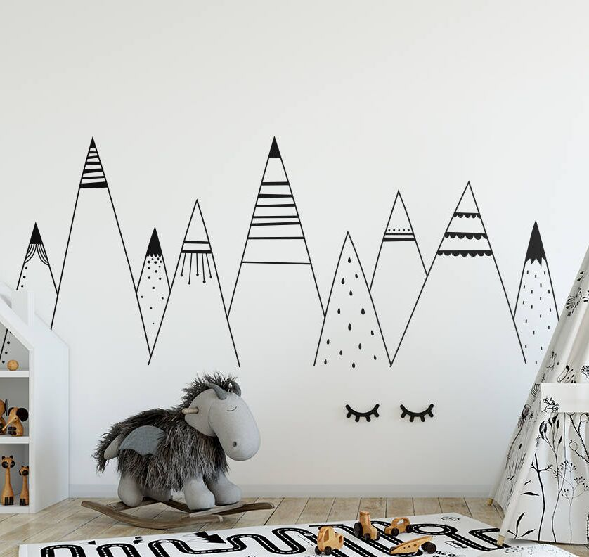 Patterned mountains wall stickers vinyl removable nursery - Childrens bedroom wall stickers removable ...