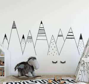Patterned Mountains Wall Stickers Vinyl Removable Nursery Woodland Kids Bedroom Decor Mountains Decal Tribal Wall Decals AY0140