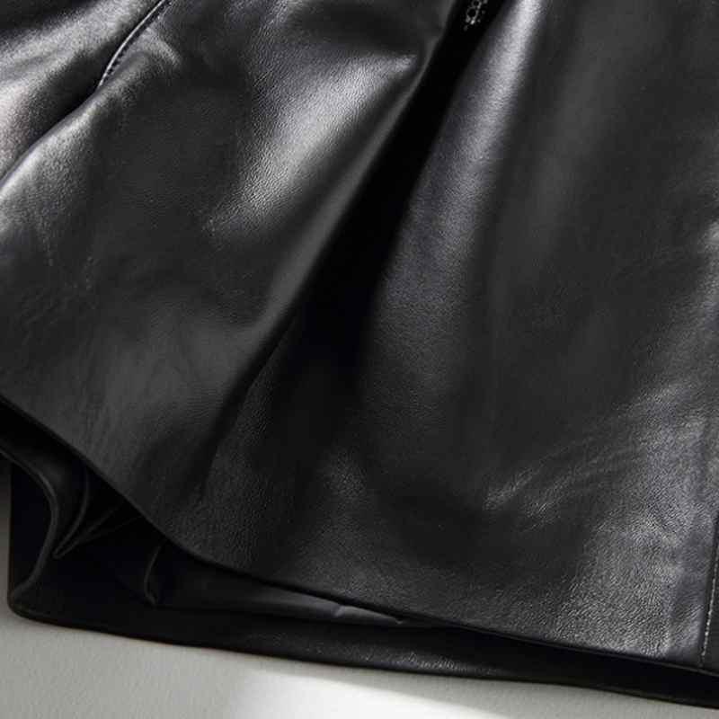 2019 Nova Moda Mulheres Sexy Preto de pele de Carneiro Shorts de Couro Genuíno Rendas Até Fino de Alta Qualidade do Sexo Feminino Bermudas Retas Saias 3XL - 6