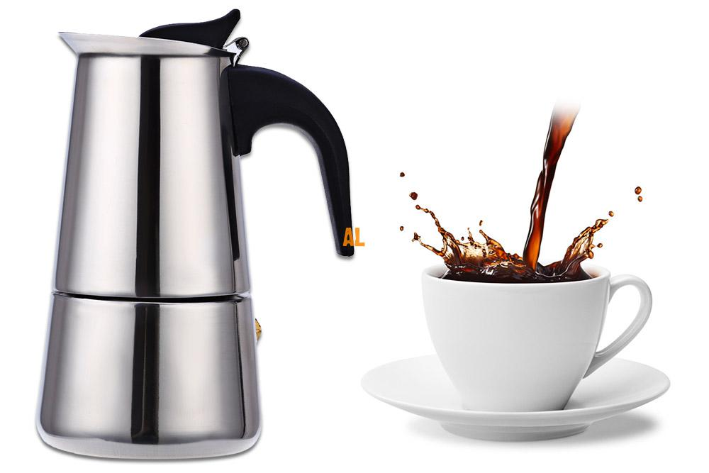 Mocha Espresso Latte Stovetop Moka Coffee Maker Stainless Steel  Filter Coffee Pot Percolator Tools Easy Clean for Home Office