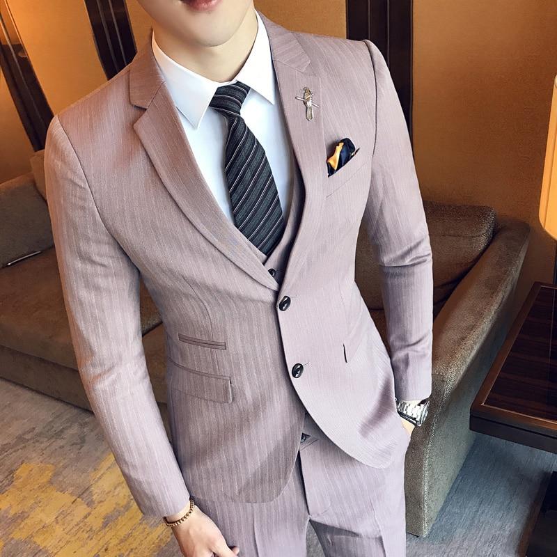 Herrenanzüge 2017 Britischen Stil Herrenmode Wolle Anzug Männer Freizeit Hohe Qualität Single Button Hochzeit Anzüge Neueste Mode Herrenbekleidung & Zubehör jacke + Weste + Hosen