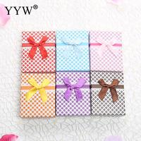 24PCs Finger Ring Earring Cardboard Jewelry Boxes and Packaging Satin Ribbon Bowknot Box for Jewelry Gift Box Display Wholesale