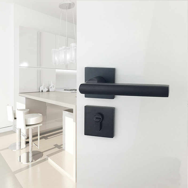 Black Aluminum Partition Lock US Style Indoor Home Solid Wood Door Handle Mute Door Lock 1set