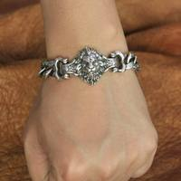 High Details Lion Chain 925 Sterling Silver Mens Biker Punk Bracelet TA146