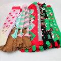 2016 de la Navidad de Papá Noel de la Nieve de Las Mujeres Impreso de Algodón Calcetines 1 par Cinco Dedo Del Pie Caliente Del Invierno Calcetín de Las Señoras Muchacha Mujer Navidad regalos