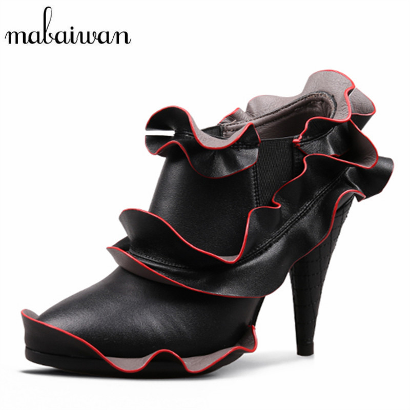 Mabaiwan Women Ankle Boots Pointed Toe Booties Ruffles Design 10CM Spike High Heels Women Pumps Botines Mujer Dress Shoes Woman fashion velvet women short booties pointed toe back zip metal decor ankle boots botines mujer women platform pumps shoes