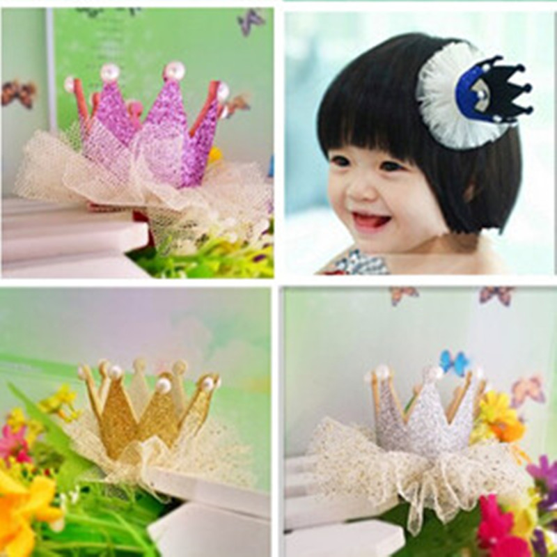 M MISM Crown Hair Accessories Pearl Shiny Leather Tiaras Hairpins Girls Charming Princes Barrettes Dancing Party Hair Clips