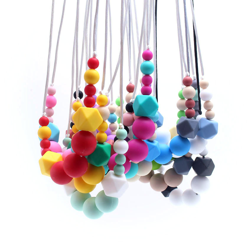 MHS.SUN Baby and Mom beads Necklace Food Grade Silicone Necklace infant teething toys Fashion Toddler nursing necklace ST020
