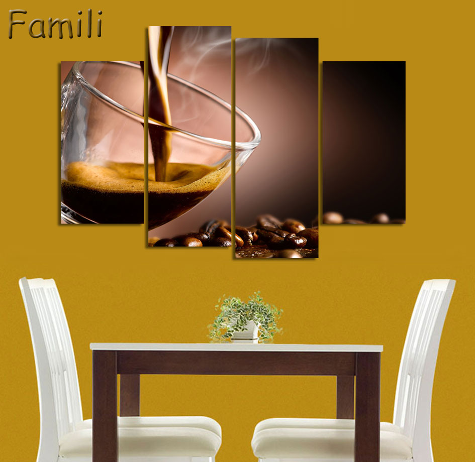 Art Décor: 4Pieces Canvas Painting Wall Art Coffee Cup Coffee Beans