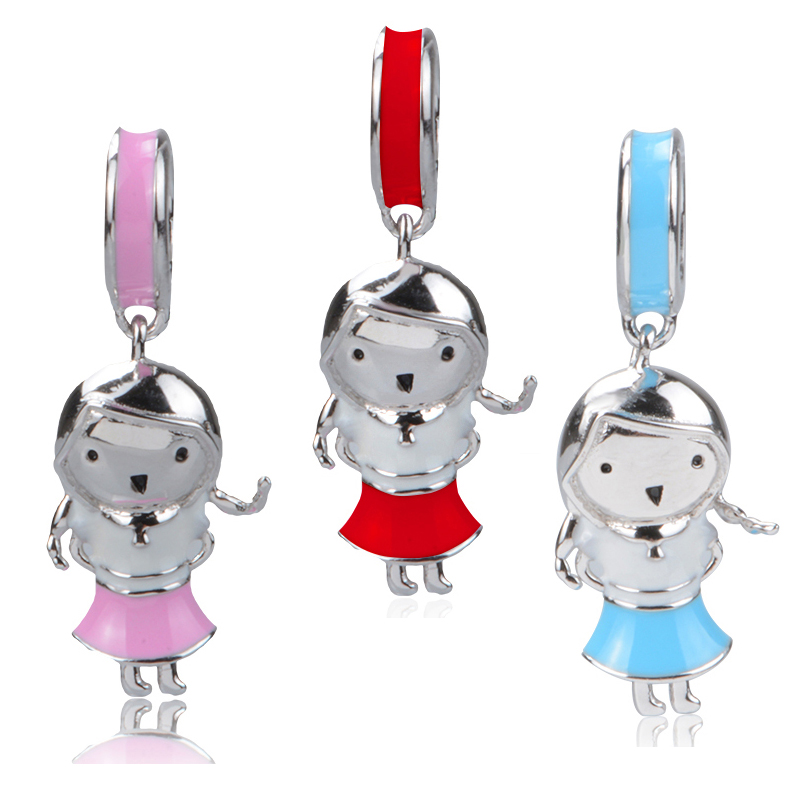 New arrival silver 925 pandora charms color enamel cute little girl beads fit original Bracelets diy Jewelry making women Gifts