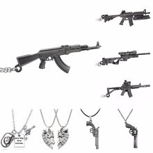 2017 Fashion AK-47 Gun Model Pendant Necklaces Steampunk Acrylic Jewelry Arms AK 47 Alloy Statement Necklace For Men Christmas(China)