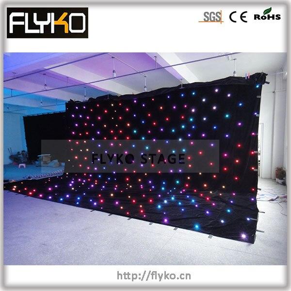 Frete grátis 6x8 m full color preço baixo de Alta qualidade lâmpada mais led estrela cortina