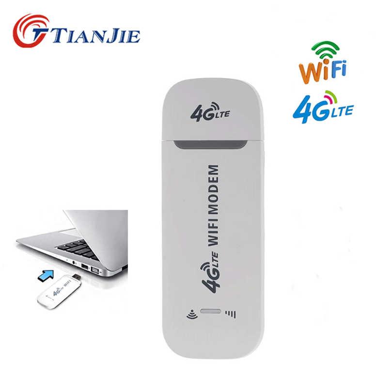 Enrutador Wifi de módem USB TIANJIE 4G LTE desbloqueado adaptador de red inalámbrica módem Stick 3G/4G SIM ranura para tarjeta móvil Wifi Hotspot enrutador