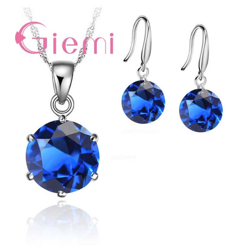 Delicate Round Crystal Necklace Earrings For Mother Women Anniversary Gift Jewellery Set 925 Sterling Silver