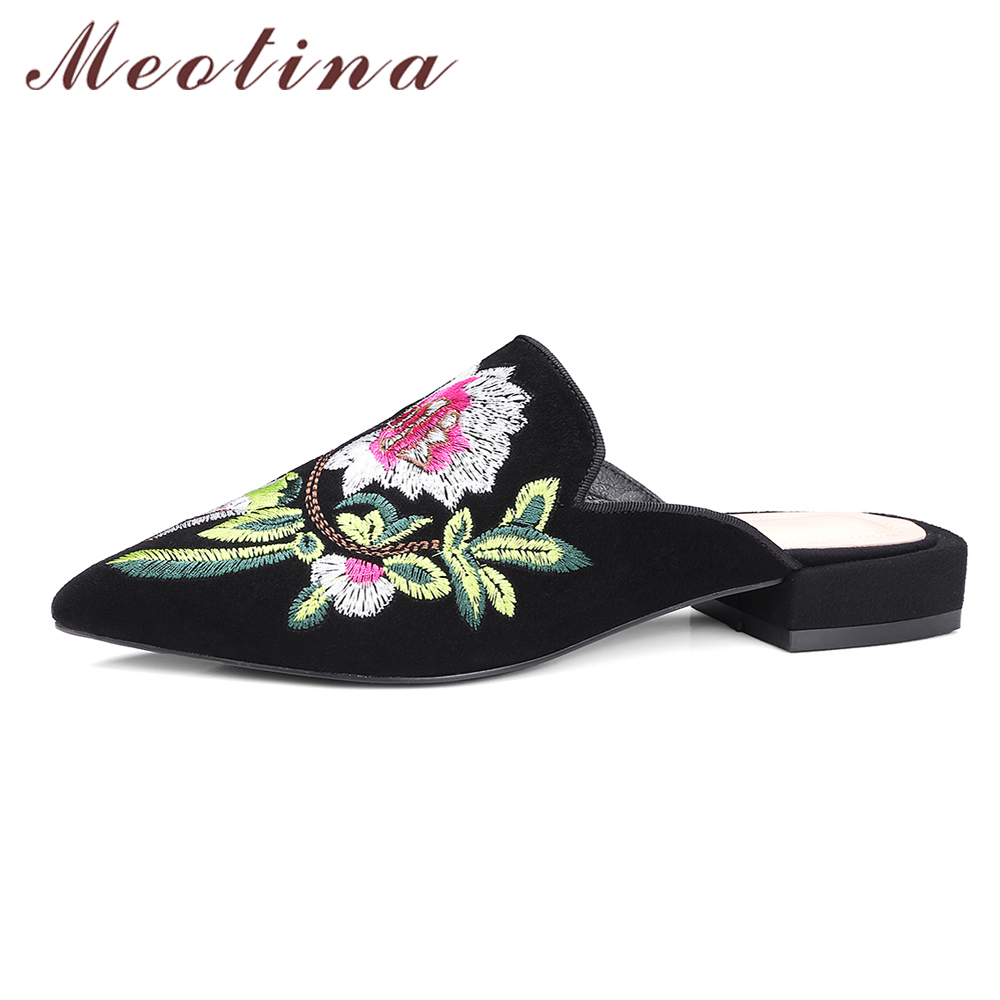 Meotina Kid Suede Genuine Leather Shoes Women Sandals Mules Shoes Size 34-42 Flower Pointed Toe Slides Embroider Ladies Slippers meotina brand design mules shoes 2017 women flats spring summer pointed toe kid suede flat shoes ladies slides black size 34 39