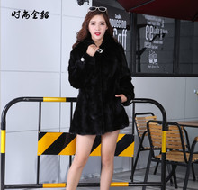 Natural Real  Mink Pieces Fur Coat With Hood Women Fur Outerwear Plus Size