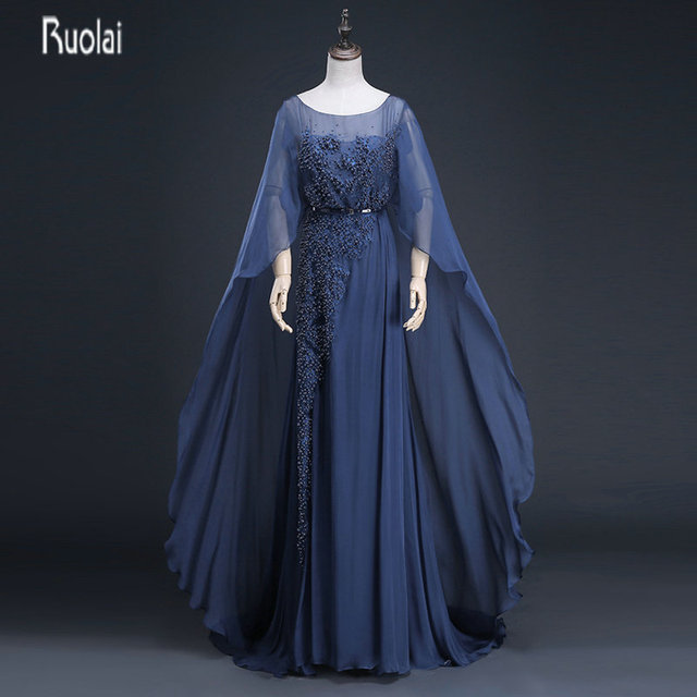 Charming Navy Blue Mother of the Bride Dresses With Cape Beads Long Mother  Dresses Evening Dresses Wedding Party Dresses 5c66438d1965