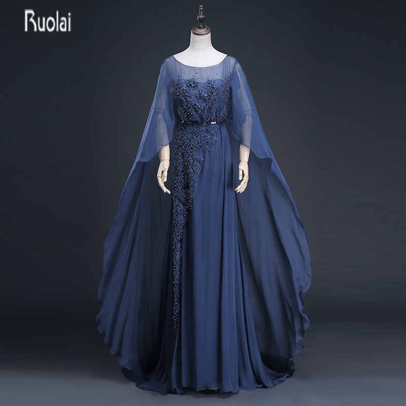 e8047838537 Charming Navy Blue Mother of the Bride Dresses With Cape Beads Long Mother  Dresses Evening Dresses