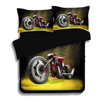 Black red 3D Motorcycle Duvet Cover Sets printed Fire Motorbike Rider Design 3/4pcs Decoration Bedding Sets soft Pillowcase sets