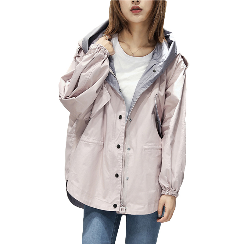 2019 New Harajuku Style Women's Windbreaker With Hood Casual Loose Zipper Women Outerwear Spring Fashion   Trench   Coat Female