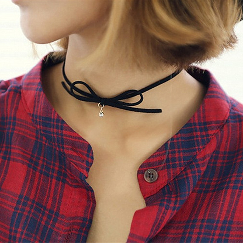 N165-Bow-Chokers-Necklaces-For-Women-Small-Crystal-Pendant-Necklace-Collares-Fashion-Jewelry-Bijoux-Colar-2017