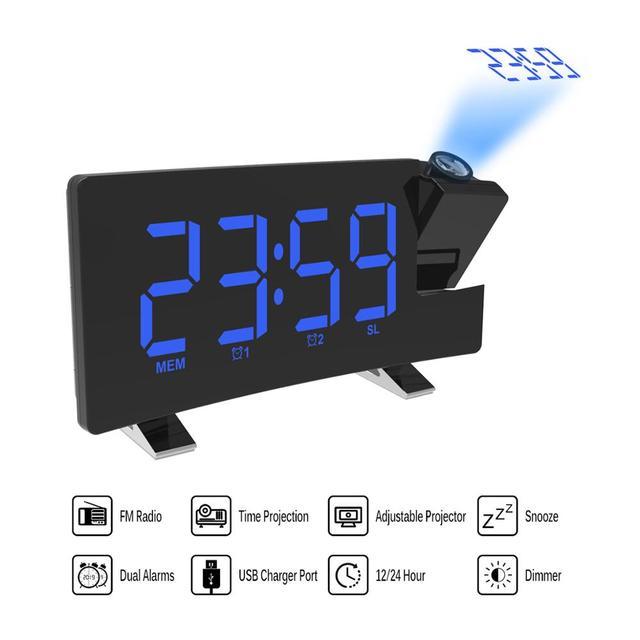 デジタル FM ラジオアラーム時計と投影 4 アラーム音 9 最小スヌーズ機能スリープタイマーため内務省の寝室