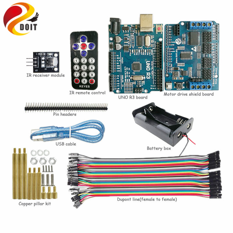 DOIT 1 set IR Control Kit with Arduino UNO R3 Board+ Motor Drive Shield for Robot Crawler Tank Car Chassis by APP Phone RC Toy геймпад для игровой приставки microsoft xbox 360 controller for windows 52a 00005
