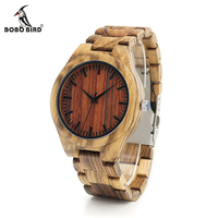 2016 New Arrival Red Stripe Dail Zebra Stripe Wood Watch Mens Quartz Watches Antique Clock With